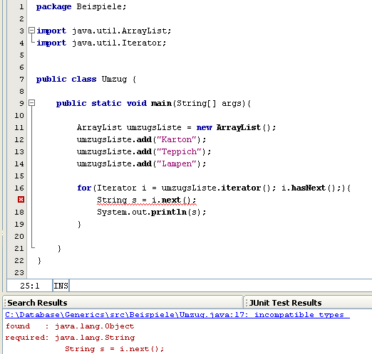 Screenshot: Java Generics - Generische Methoden, Klassen und Interfaces
